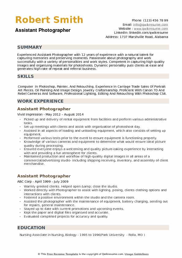 assistant photographer resume samples qwikresume photography skills for pdf technical Resume Photography Skills For Resume