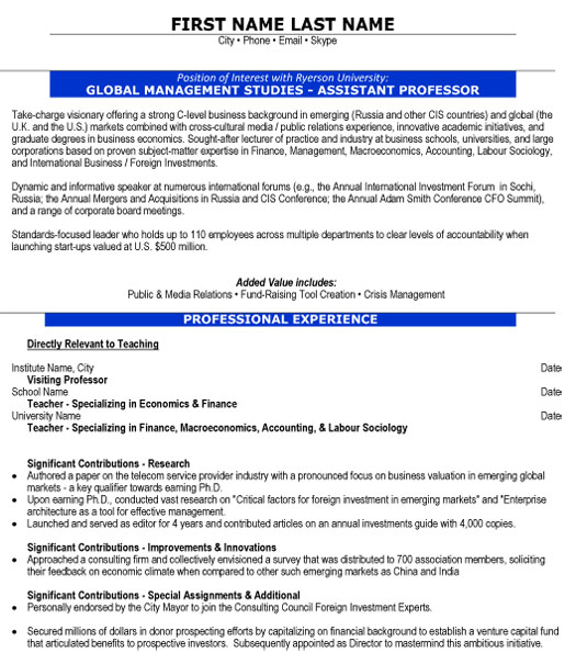 assistant professor resume sample template for global management studies self evaluation Resume Resume Template For Professor