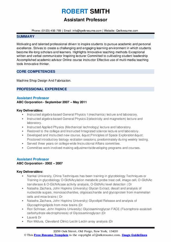 assistant professor resume samples qwikresume template for pdf out of state job diesel Resume Resume Template For Professor