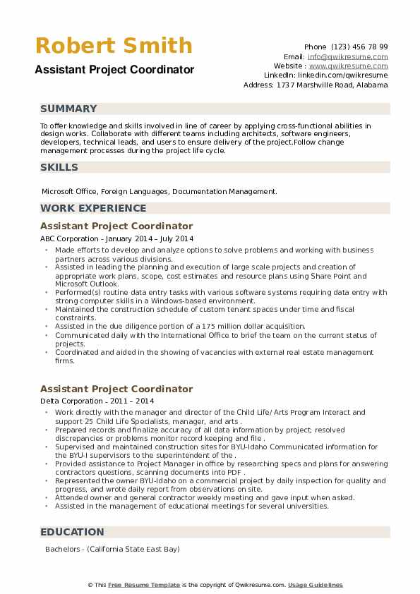 assistant project coordinator resume samples qwikresume pdf good summary for retail cna Resume Assistant Project Coordinator Resume