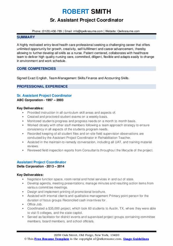 assistant project coordinator resume samples qwikresume pdf nursing student template good Resume Assistant Project Coordinator Resume