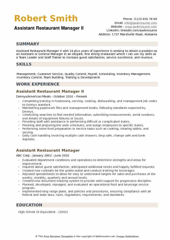 assistant restaurant manager resume samples qwikresume sample pdf editing services Resume Restaurant Manager Resume Sample