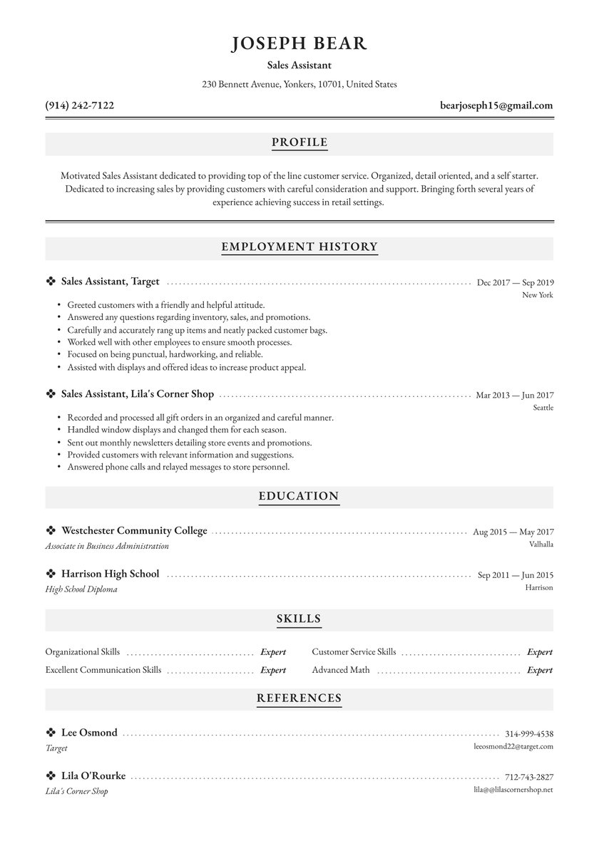 assistant resume examples writing tips free guide io basic universal format say human Resume Basic Resume Examples 2019