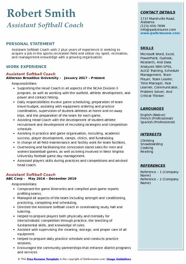 assistant softball coach resume samples qwikresume template pdf application form for job Resume Softball Resume Template