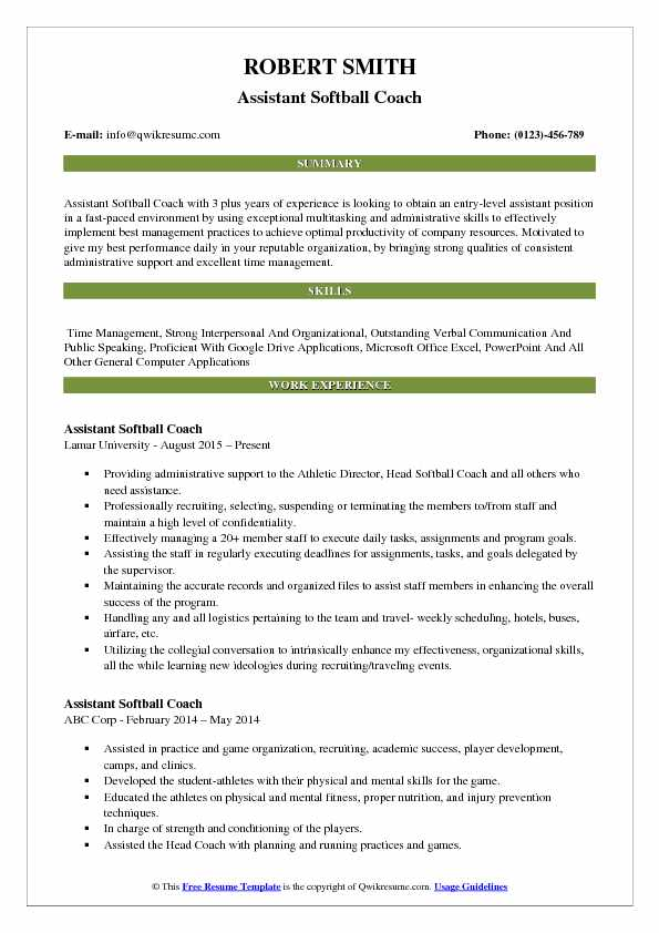 assistant softball coach resume samples qwikresume template pdf divemaster lactation Resume Softball Resume Template