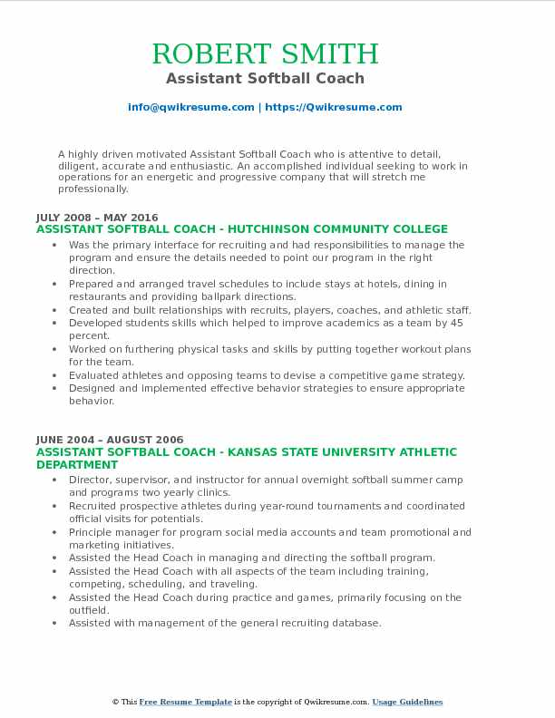 assistant softball coach resume samples qwikresume template pdf fonts for design help Resume Softball Resume Template