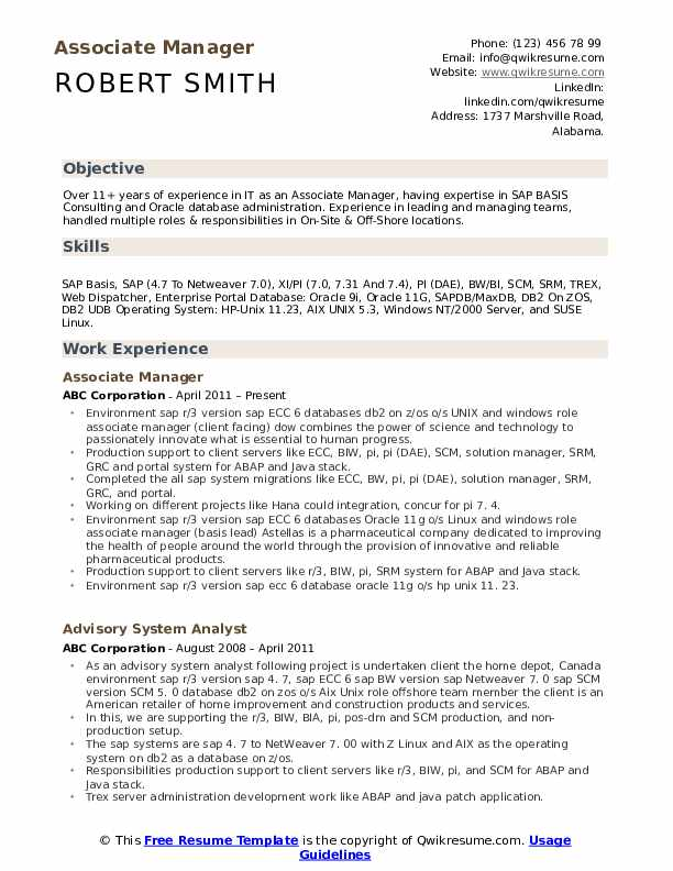 associate manager resume samples qwikresume sap basis for years experience pdf speech Resume Sap Basis Resume For 3 Years Experience