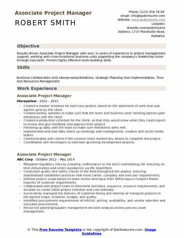 associate project manager resume samples qwikresume objective for pdf general service Resume Objective For Resume Project Manager