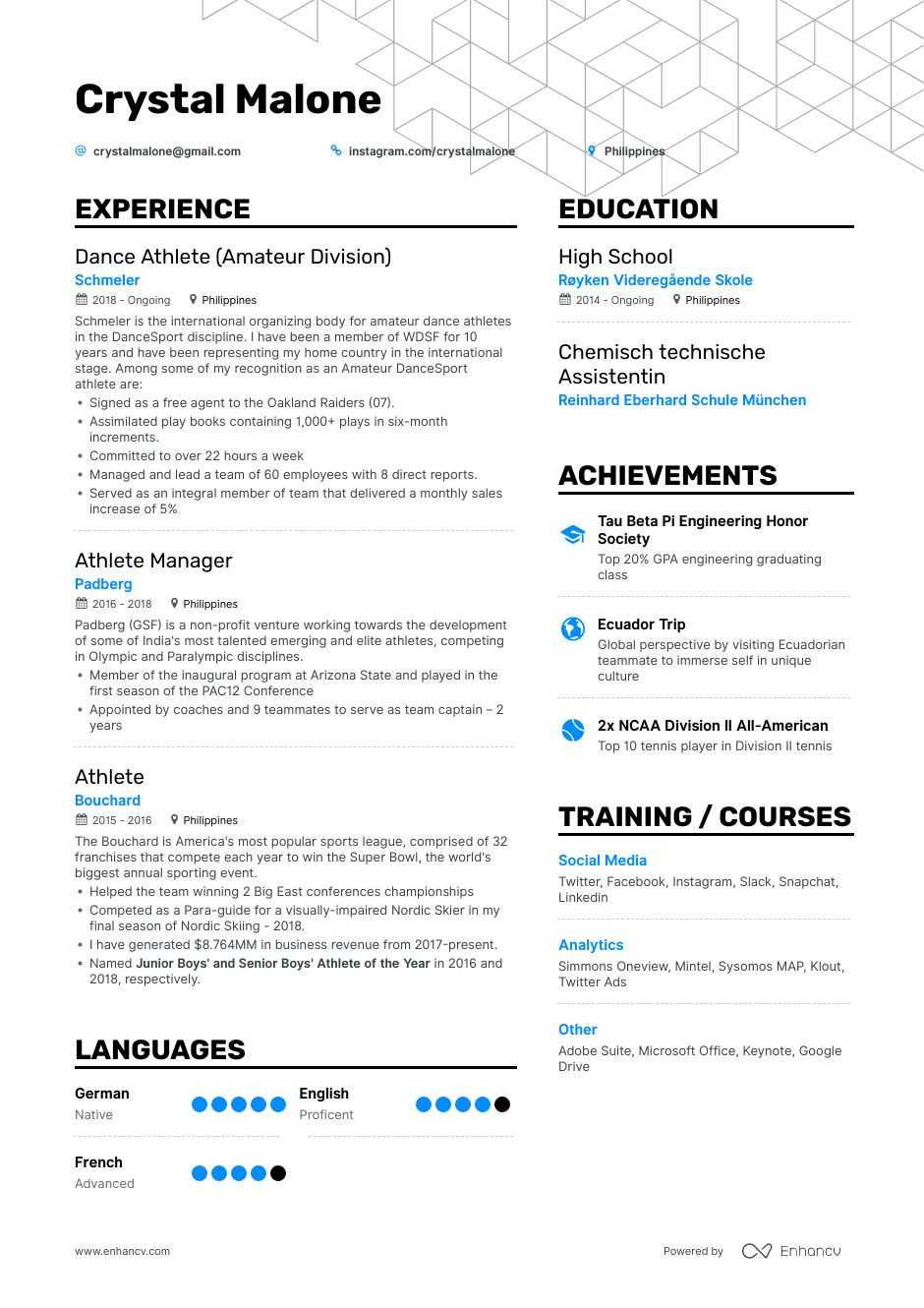 athlete resume example for enhancv athletic template operating room technician format Resume Athletic Resume Template