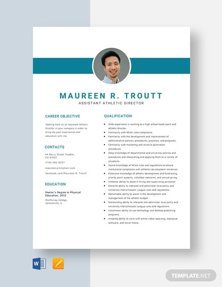 athletic director resume templates pdf free premium template assistant high school for Resume Athletic Resume Template