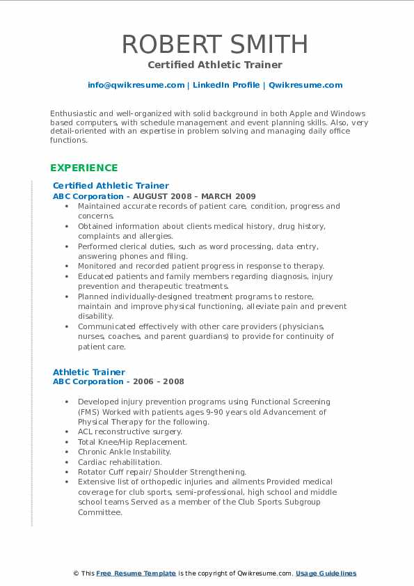 athletic trainer resume samples qwikresume sample pdf college boosters good computer Resume Athletic Trainer Resume Sample