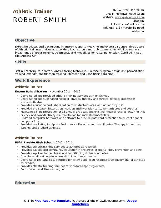 athletic trainer resume samples qwikresume sample pdf residential construction project Resume Athletic Trainer Resume Sample
