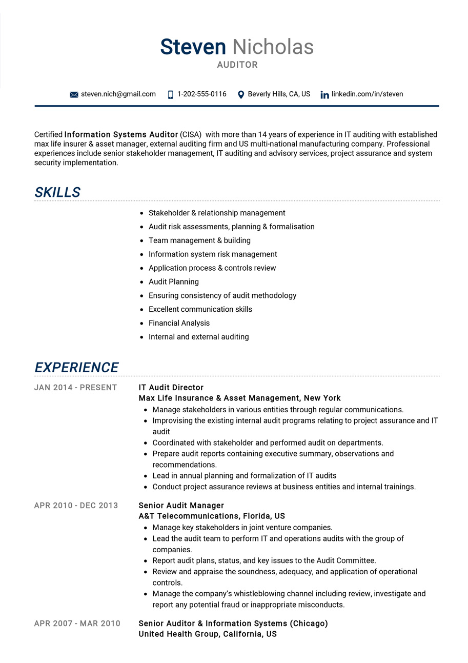auditor resume example cv sample guide resumekraft executive summary of clerical examples Resume Executive Summary Of Resume Example