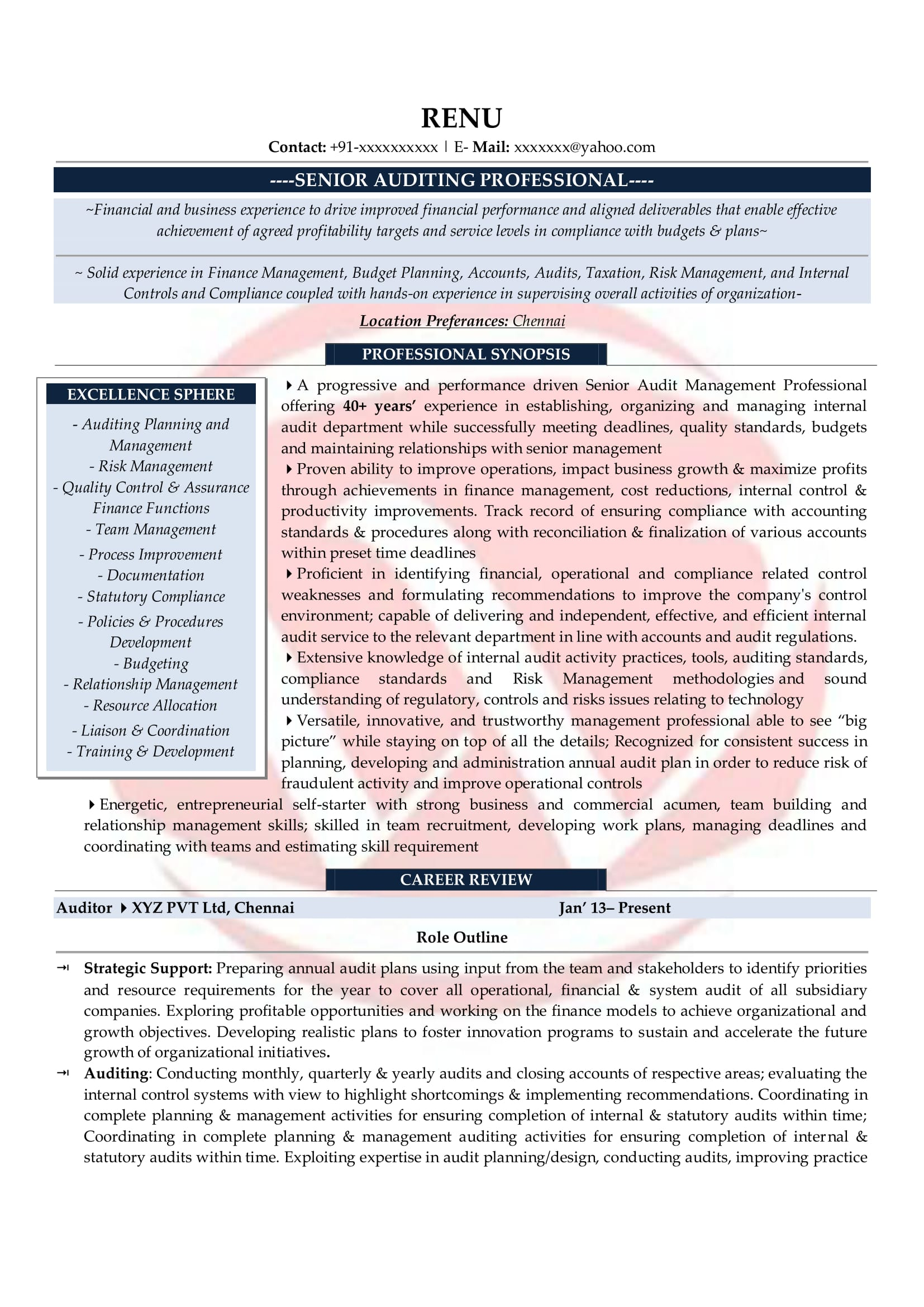 auditor sample resumes resume format templates financial investment banking fresher cmo Resume Financial Auditor Resume