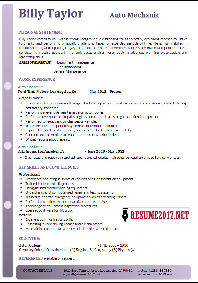 auto mechanic resume example strong examples delivery driver self motivated sample le Resume Strong Resume Examples 2017
