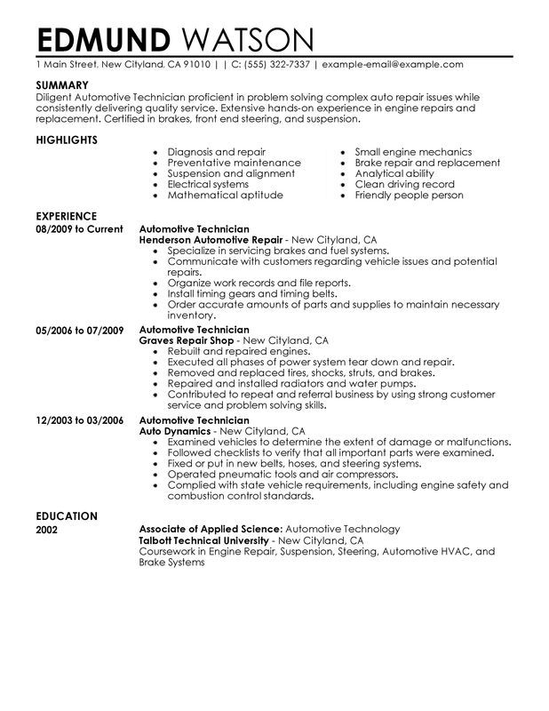 automotive technician resume sample my perfect examples skills technical template sag Resume Technical Resume Template