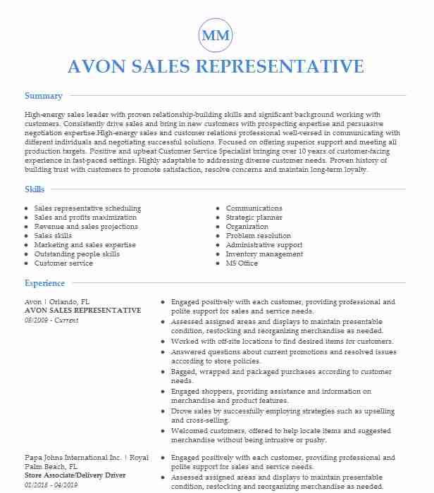 avon representative resume example homestead examples shipping and receiving biology Resume Avon Representative Resume Examples