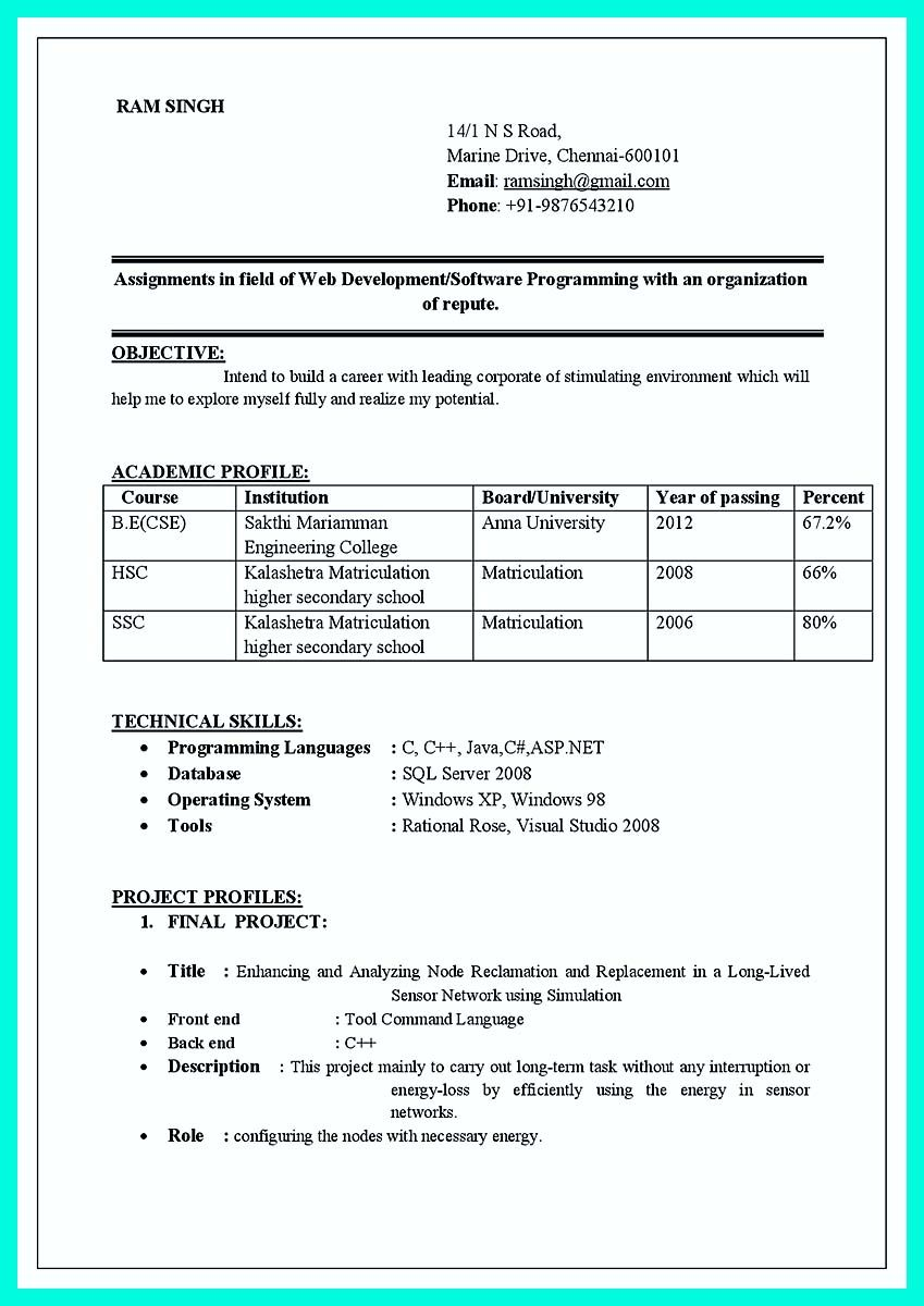 awesome computer programmer resume examples to impress employers best format job for Resume Resume Format For Freshers Engineers Computer Science