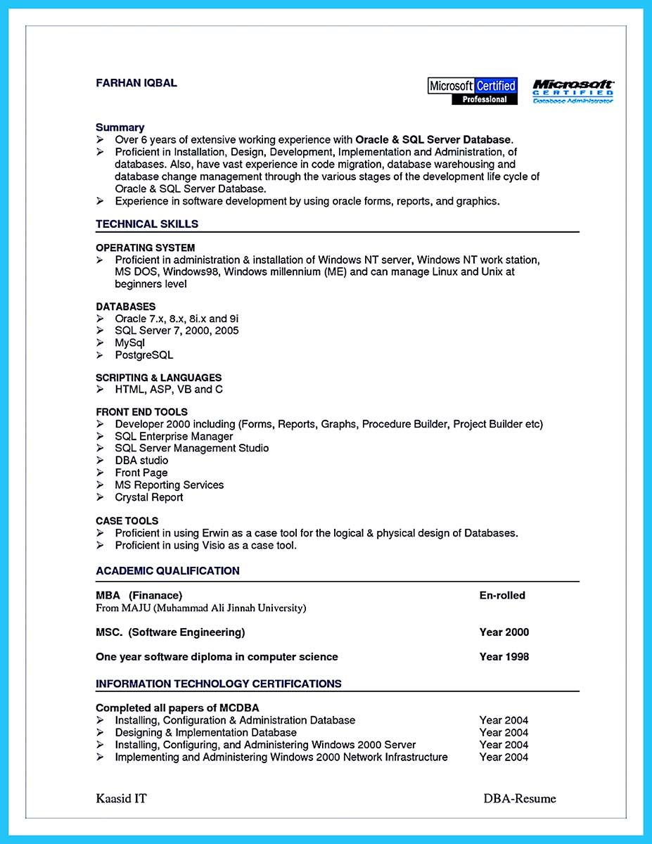 awesome high impact database administrator resume to get noticed easily format best Resume Mysql Dba Resume Sample