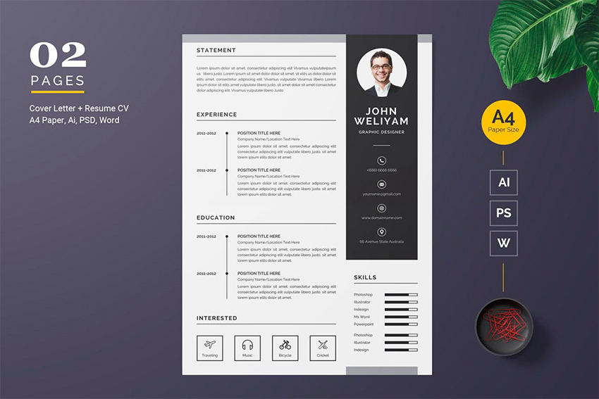 awesome illustrator resume templates with creative cv designs adobe template contact hong Resume Illustrator Resume Templates