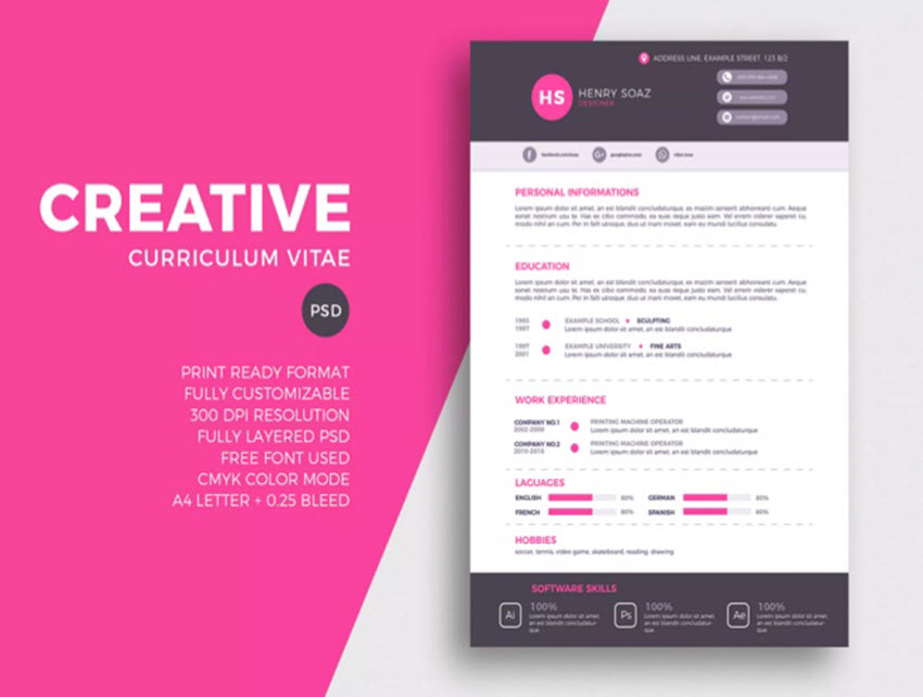 awesome illustrator resume templates with creative cv designs intro image simple examples Resume Illustrator Resume Templates