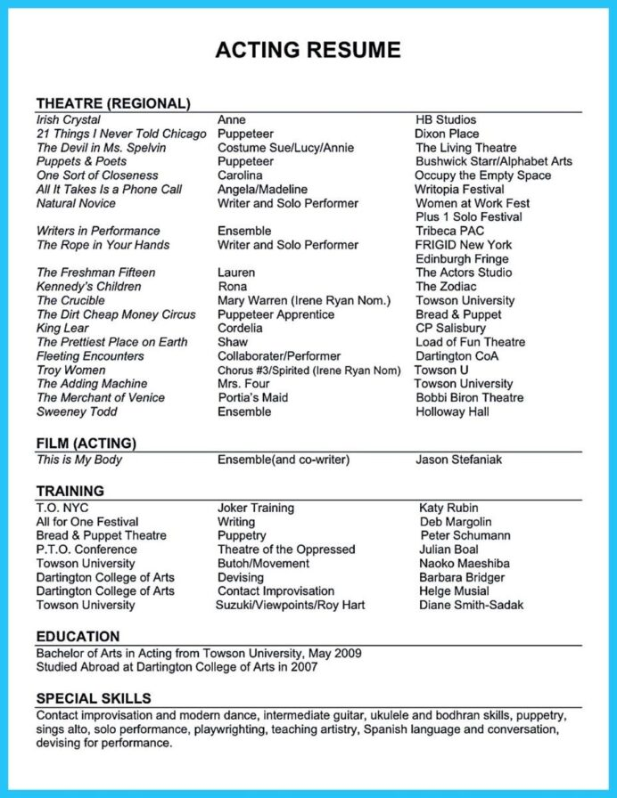 awesome outstanding acting resume sample to get job soon template unique skills for Resume Skills For Acting Resume