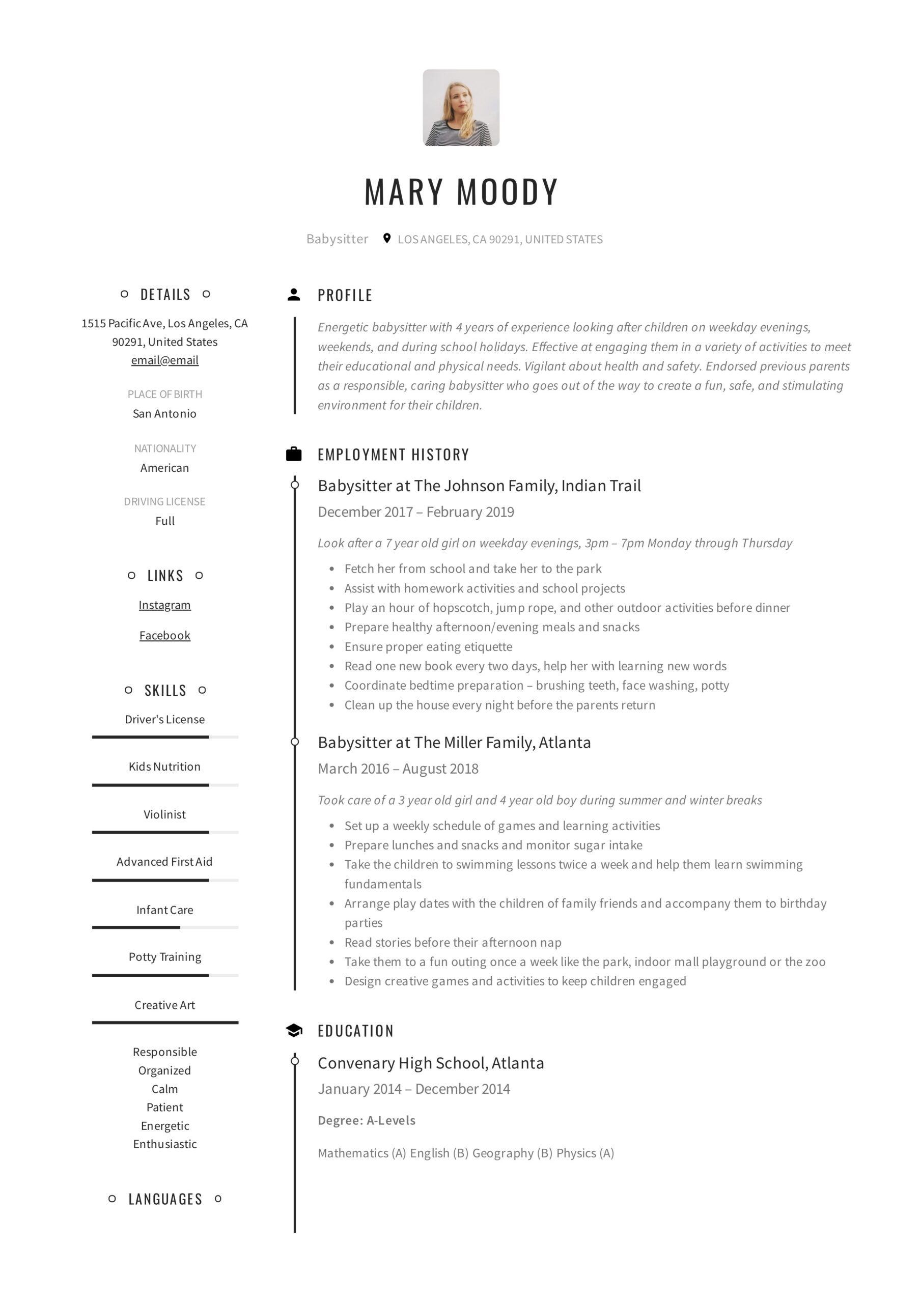 babysitter resume examples writing guide pdf for babysitting mary college application Resume Resume Examples For Babysitting