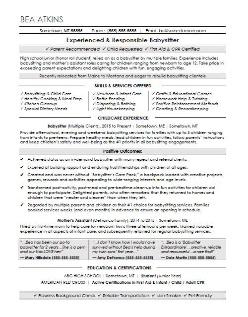 babysitter resume sample monster examples for babysitting security access control Resume Resume Examples For Babysitting
