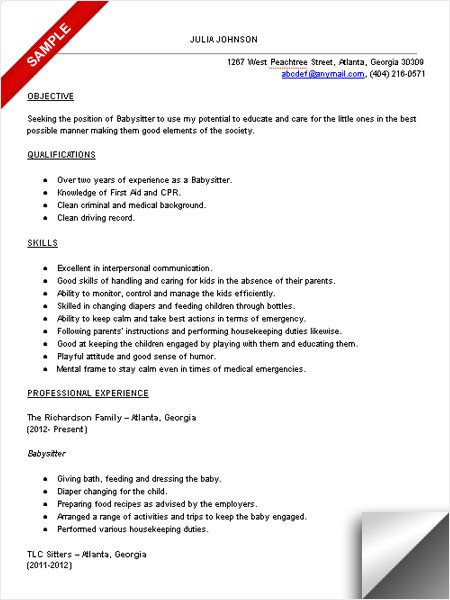 babysitter resume sample objective skills examples lpn for position heavy bus driver Resume Resume For Babysitter Position