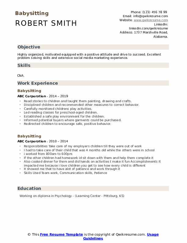 babysitting resume samples qwikresume for babysitter position pdf career change templates Resume Resume For Babysitter Position