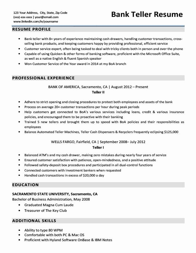 bank resume description new sample writing tips examples for summary students free unique Resume Resume Description For Bank Teller