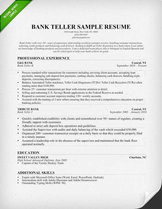 bank resume ipasphoto description for with the arrangement of study and your experience Resume Resume Description For Bank Teller