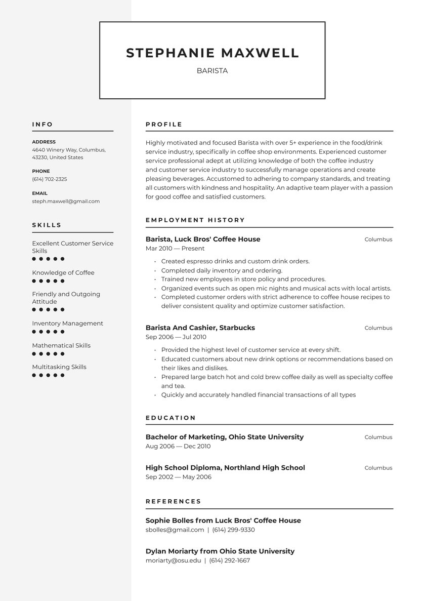 barista resume examples writing tips free guide io customer service creative interior Resume Cafe Customer Service Resume