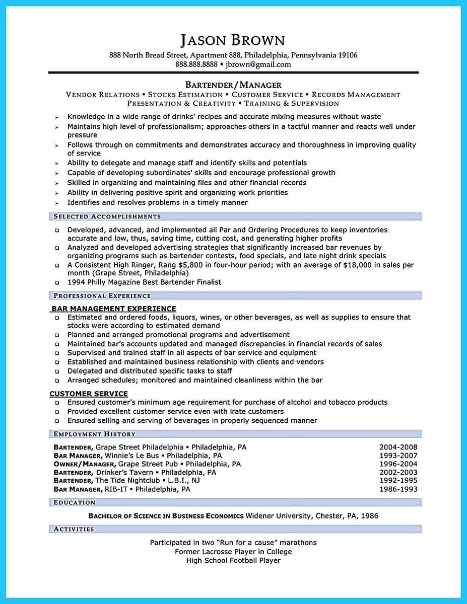 bartendending responsibilities resume sample and bartending with no experience example Resume Responsibilities Of Bartender For Resume