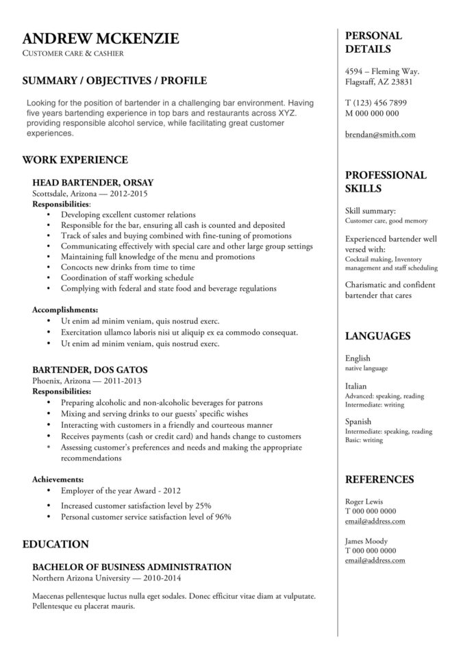 bartender resume guide example downloads pdf word job duties sample strong synonym for Resume Bartender Job Duties Resume