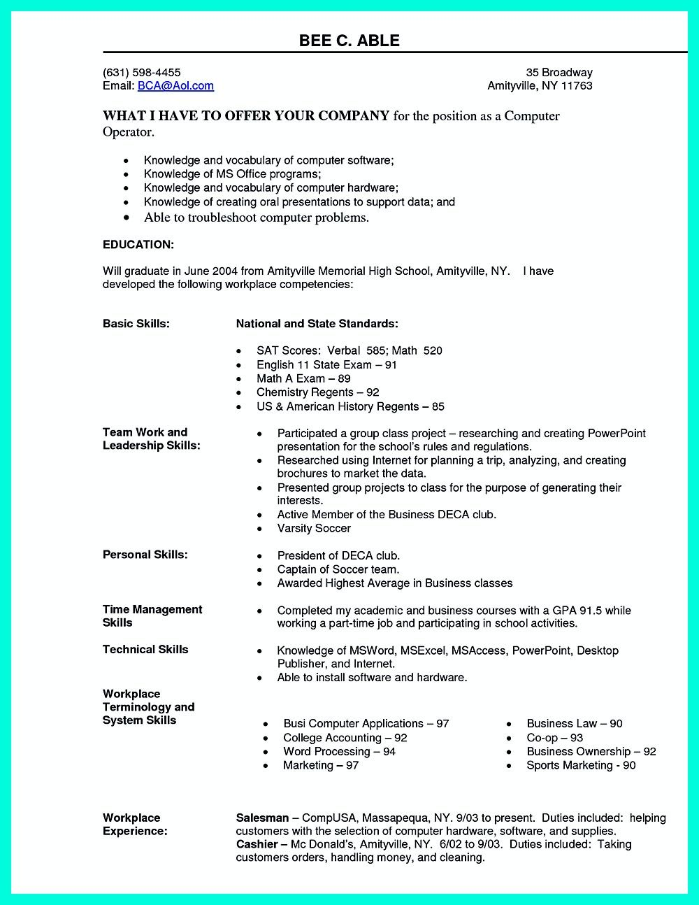 basic computer knowledge resume format best examples skills assistant business manager Resume Basic Computer Skills Resume