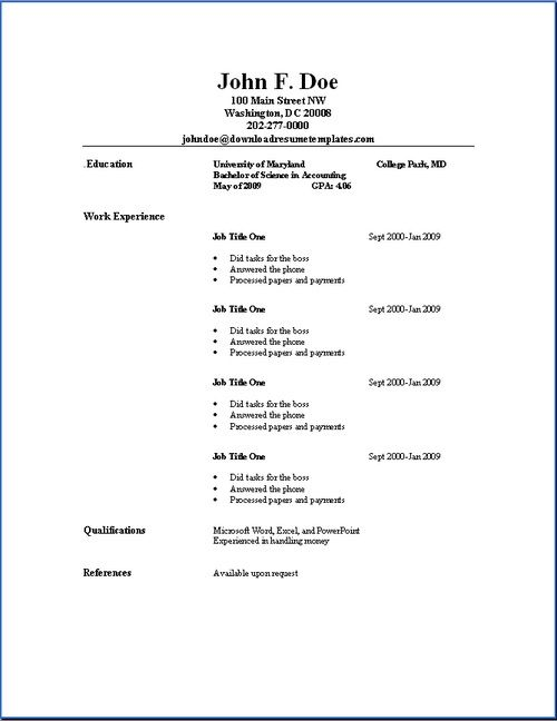 basic resume outline sample job samples template examples dental assistant duties for Resume Resume Outline Template