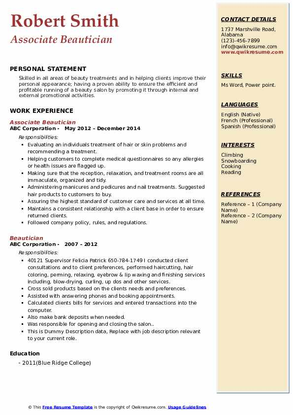 beautician resume samples qwikresume beauty therapist template pdf college format cyber Resume Beauty Therapist Resume Template