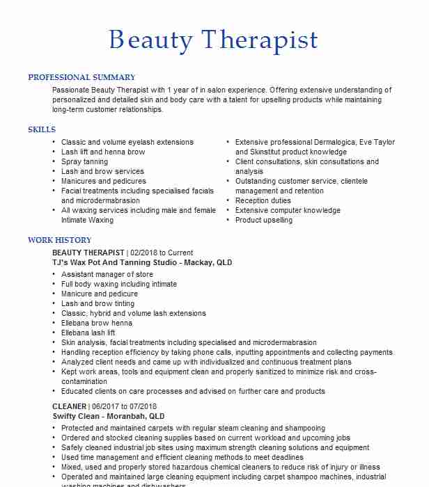 beauty therapist resume example specialist resumes livecareer parlour format assistant Resume Beauty Parlour Resume Format