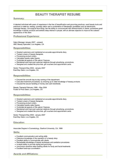 beauty therapist resume great sample examples image cisco voip network engineer executive Resume Therapist Resume Examples