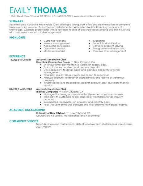 best accounts receivable clerk resume example livecareer examples accounting finance Resume Accounts Receivable Resume Examples