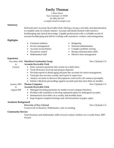best accounts receivable clerk resume example livecareer job description for accounting Resume Accounts Receivable Clerk Job Description For Resume