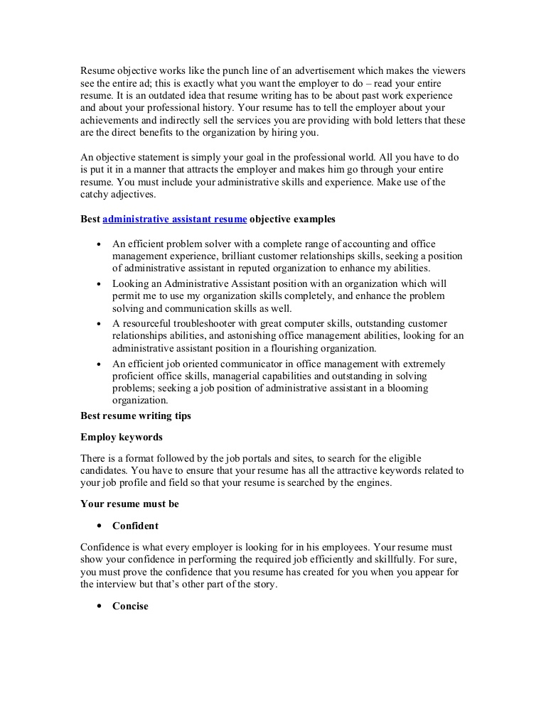 best administrative assistant resume objective article1 keywords Resume Resume Objective Keywords