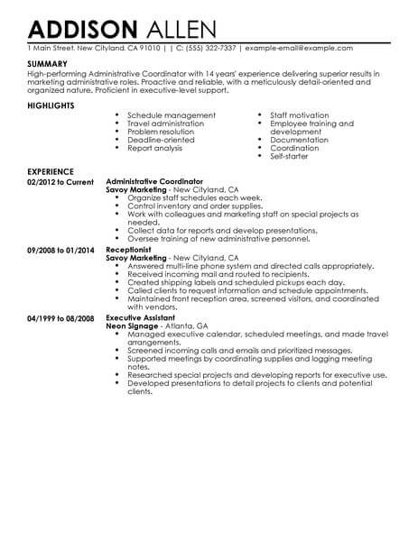 best administrative coordinator resume example livecareer sample for position office Resume Sample Resume For Coordinator Position
