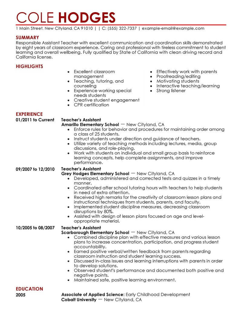 best assistant teacher resume example livecareer summary for education contemporary Resume Summary For Teacher Assistant Resume