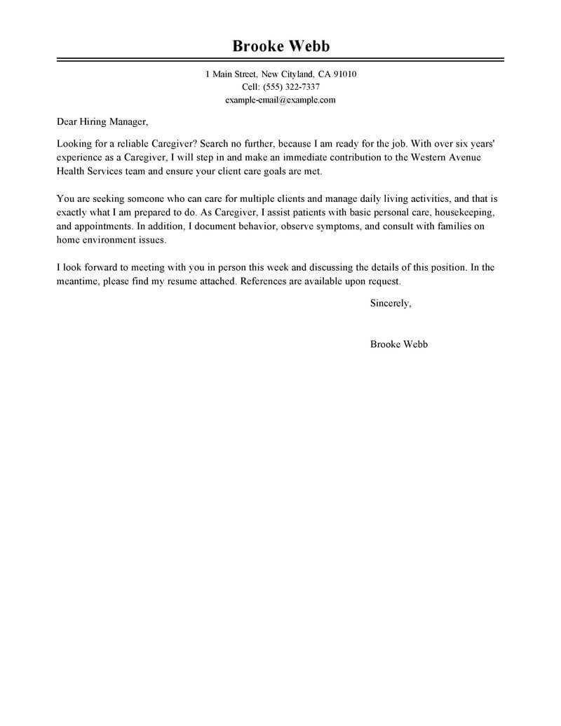 best caregiver cover letter examples livecareer sample for resume healthcare classic Resume Sample Cover Letter For Caregiver Resume