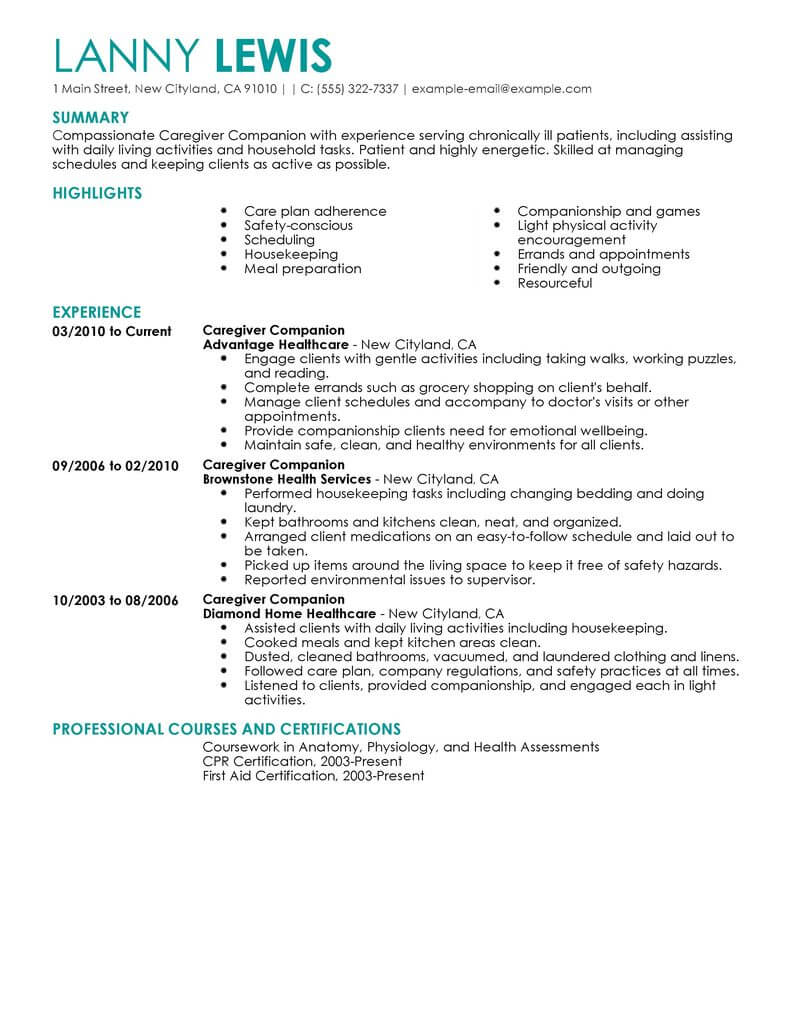best caregivers companions resume example livecareer caregiver objective wellness Resume Caregiver Resume Objective