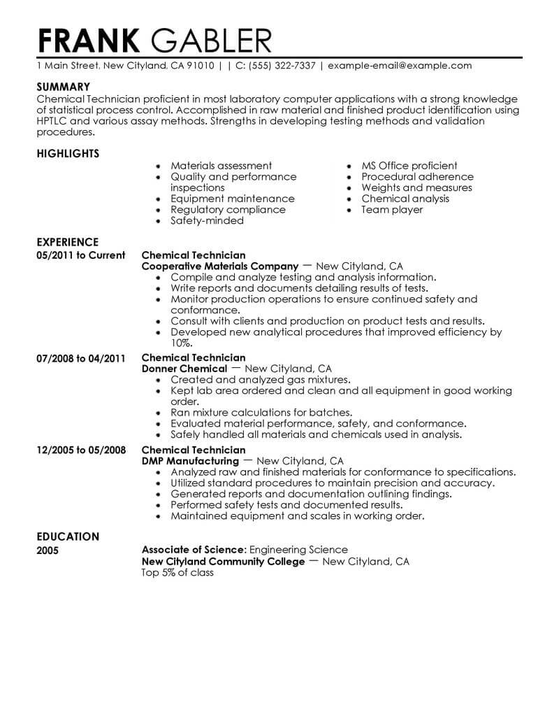 best chemical technician resume example livecareer production technicians government Resume Production Technician Resume