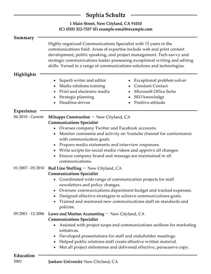 best communications specialist resume example livecareer marketing modern academic for Resume Communications Major Resume