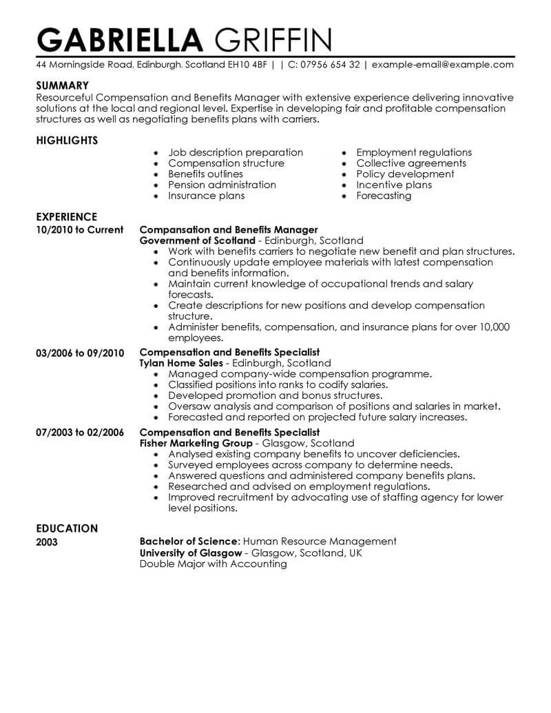 best compensation and benefits resume example livecareer specialist human resources Resume Compensation Specialist Resume